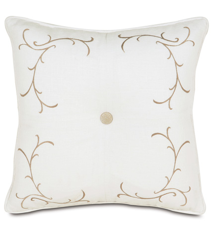 Image of Breeze White Tufted Embroidered Pillow