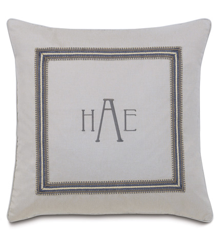 Image of Mack Heather Pillow with 3-Letter Monogram