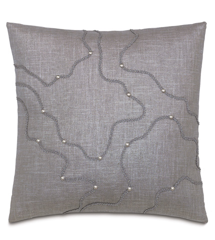 Image of Reflection Taupe Pillow with Nailheads
