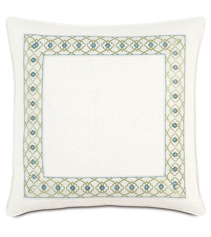 Image of Filly White  Pillow with Mitered Border