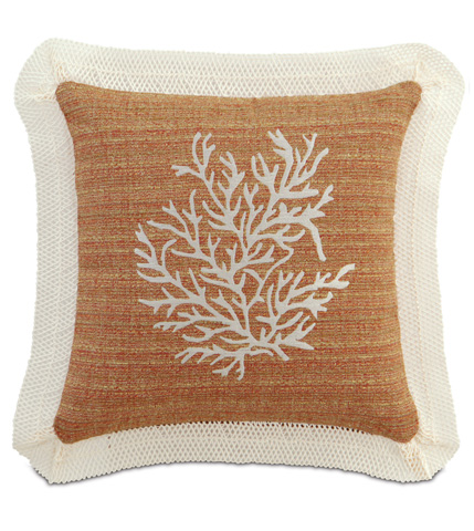 Image of Embroidered Coral Pillow