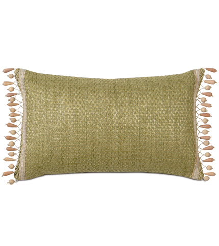 Image of Wades Green Pillow with Beaded Trim