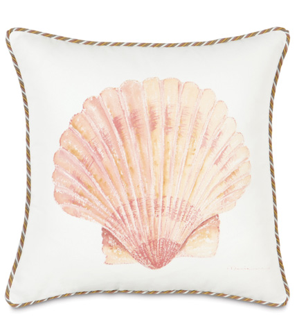 Image of Hand-Painted Scallop Shell Pillow