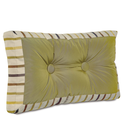 Image of Freda Chartreuse Mitered and Tufted Pillow
