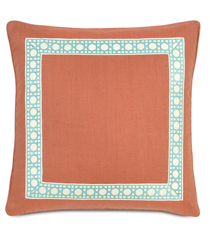 Image of Breeze Tangerine Pillow With Border and Welt