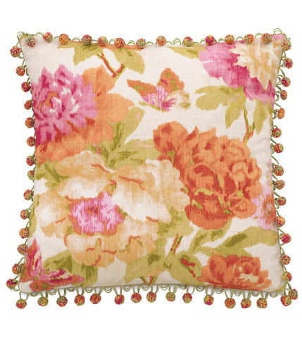 Image of Caroline Azalea Pillow with Ball Trim
