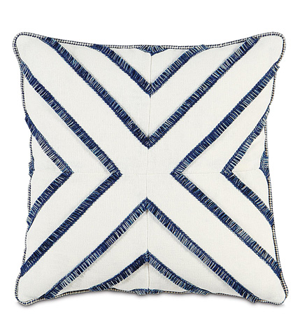 Image of Filly White  Pillow with Brush Fringe On Top
