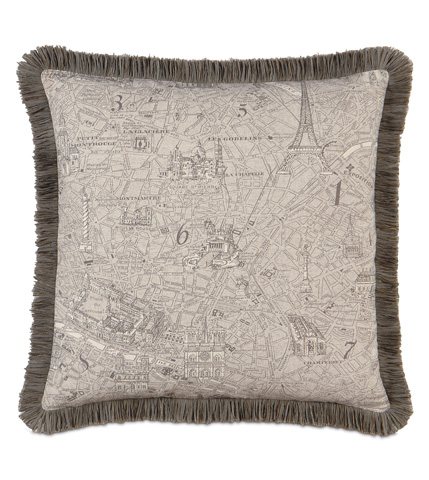 Image of Trompe Mocha Pillow with Brush Fringe