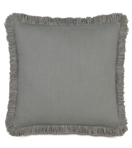 Image of Breeze Slate Pillow with Brush Fringe