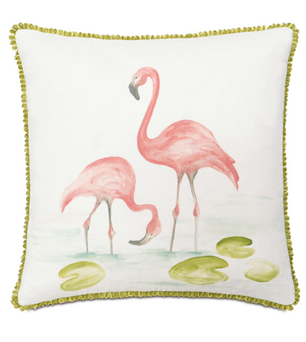 Image of Hand-Painted Flamingos Pillow