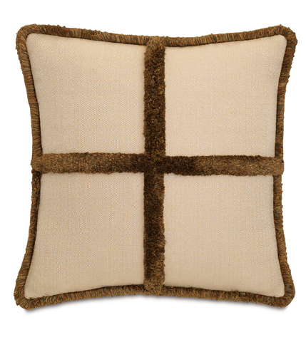 Eastern Accents - Walden Tan Pillow with Brush Fringe - DPD-361-G