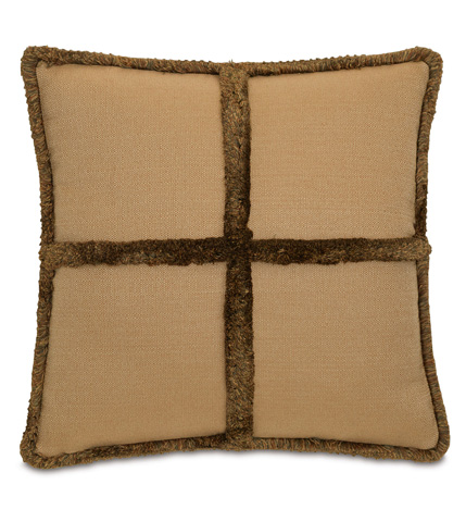 Image of Walden Ochre Pillow with Brush Fringe