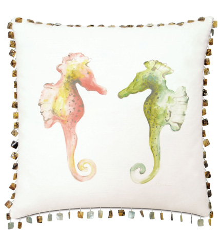Image of Hand-Painted Seahorses Pillow