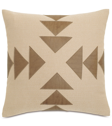 Image of Walden Tan Pillow with Graphic Applique