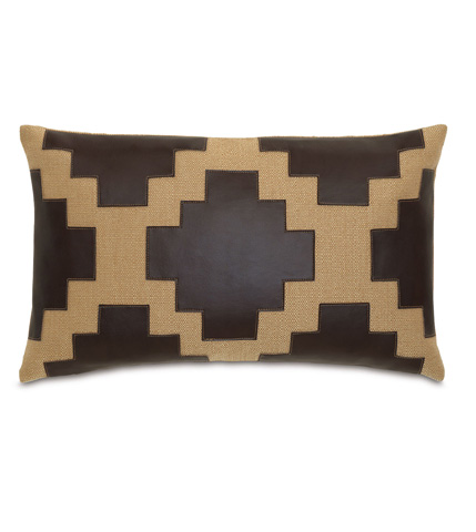 Image of Walden Ochre Pillow with Graphic Applique