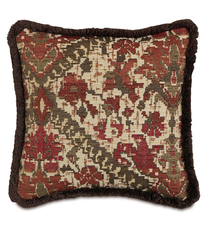 Image of Douglas Paprika Pillow with Brush Fringe