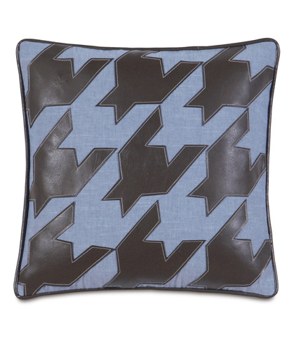 Eastern Accents - Duvall Denim Pillow with Houndstooth - EHA-07