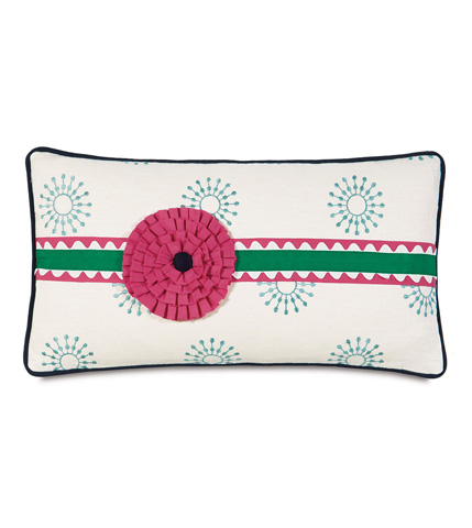 Image of Wallace Sky Pillow with Rosette