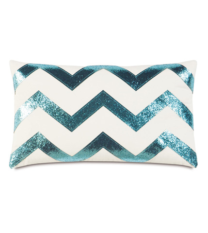 Image of Sparkle Aqua Chevron Pillow