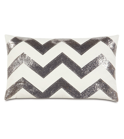 Image of Sparkle Silver Chevron Pillow