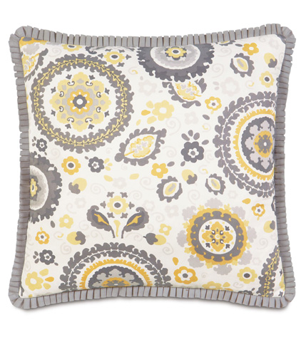 Image of Kennedy Sunshine Pillow with Pleated Ribbon