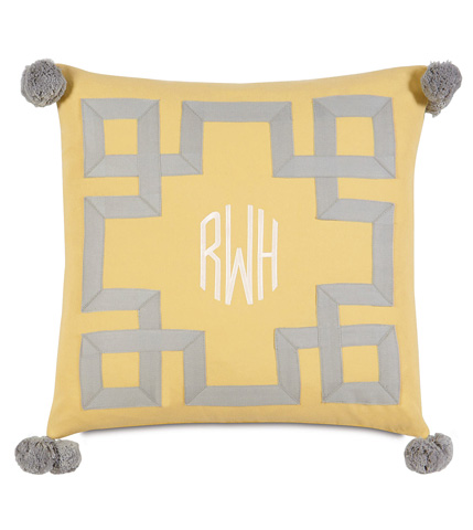 Image of Embroidered 3-Letter Monogram Pillow