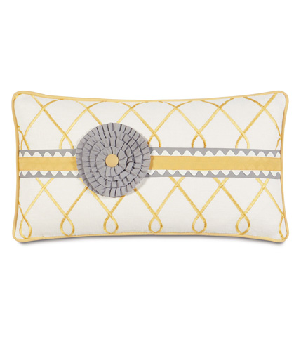 Image of Terrace Canary Pillow with Rosette