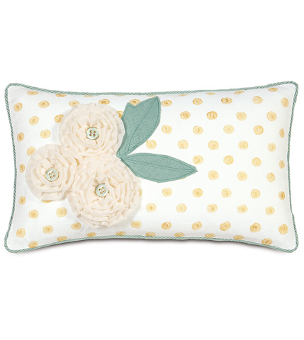 Image of Baldwin White Pillow With Flowers