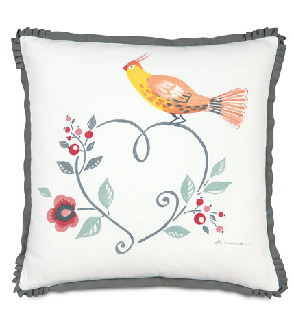 Image of Baldwin White Hand-Painted Pillow