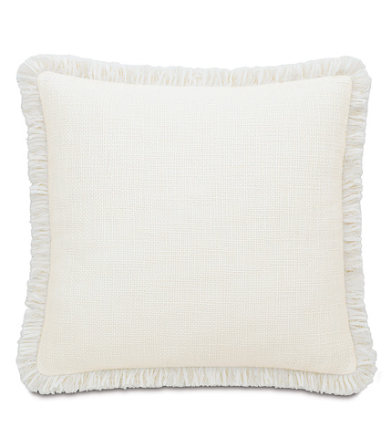 Image of Portage White Pillow with Brush Fringe
