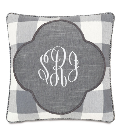 Image of Duvall Slate Monogrammed Insert Pillow