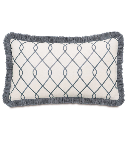 Image of Terrace Grey Pillow with Brush Fringe