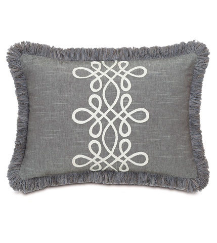 Image of Duvall Slate Pillow with Brush Fringe