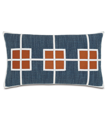 Image of Gilmer Indigo Pillow with Square Inserts
