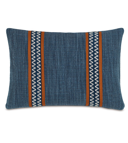 Image of Gilmer Indigo Pillow with Border