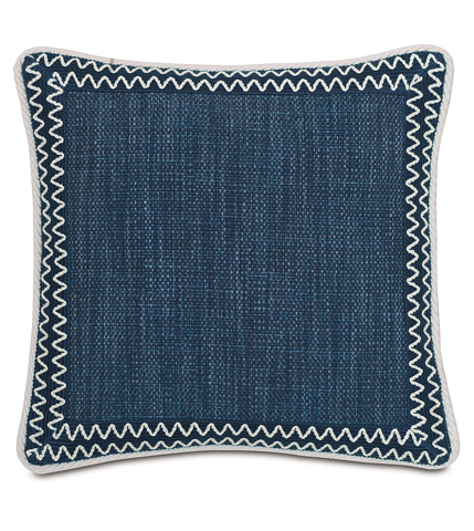 Image of Gilmer Indigo Pillow with Mitered Border