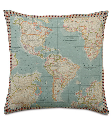 Image of Monde Ocean Pillow with Border