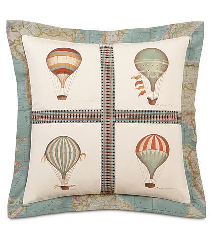 Image of Hand-Painted Balloons Pillow with Flange