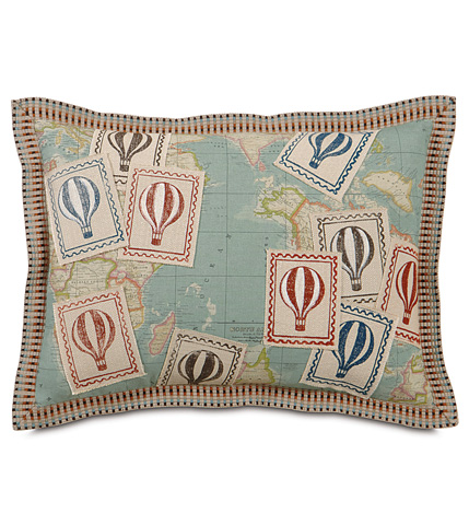 Image of Monde Ocean Pillow with Printed Balloons