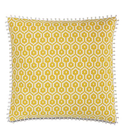 Image of Zuni Lemon Pillow with Loop Trim