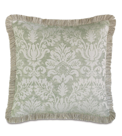 Image of Lourde Celadon Pillow with Brush Fringe