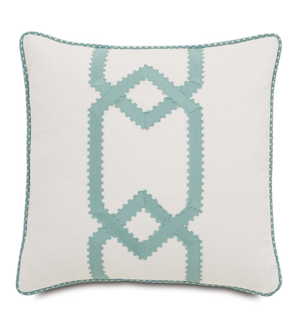 Image of Filly White Pillow with Gimp Design