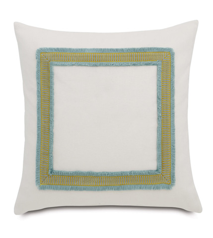 Eastern Accents - Filly White Pillow with Mitered Trim - MAG-11