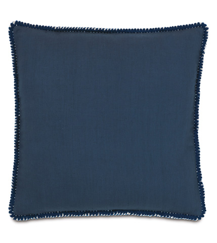 Image of Breeze Indigo Pillow with Loop Fringe