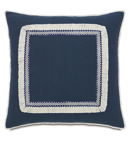 Image of Breeze Indigo Pillow with Fringe