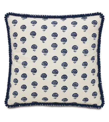 Eastern Accents - Nile Ink Pillow with Loop Fringe - MAR-09