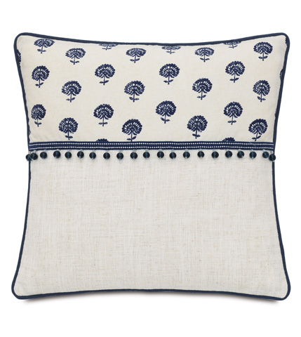 Eastern Accents - Nile Ink Pillow with Beaded Trim - MAR-10