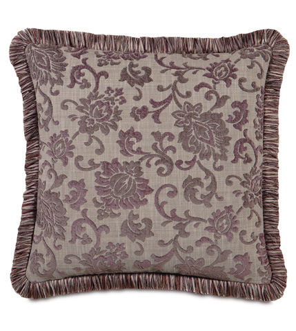 Image of Mica Gunmetal Pillow with Brush Fringe