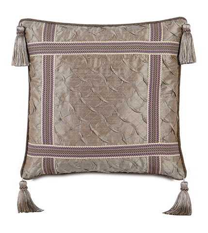 Image of Carmo Pewter Pillow with Welt and Tassels
