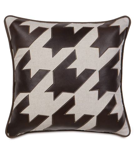 Image of Hoffman Walnut Houndstooth Applique Pillow